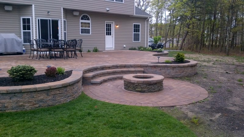 Raised Patio With Circular Fire Pit