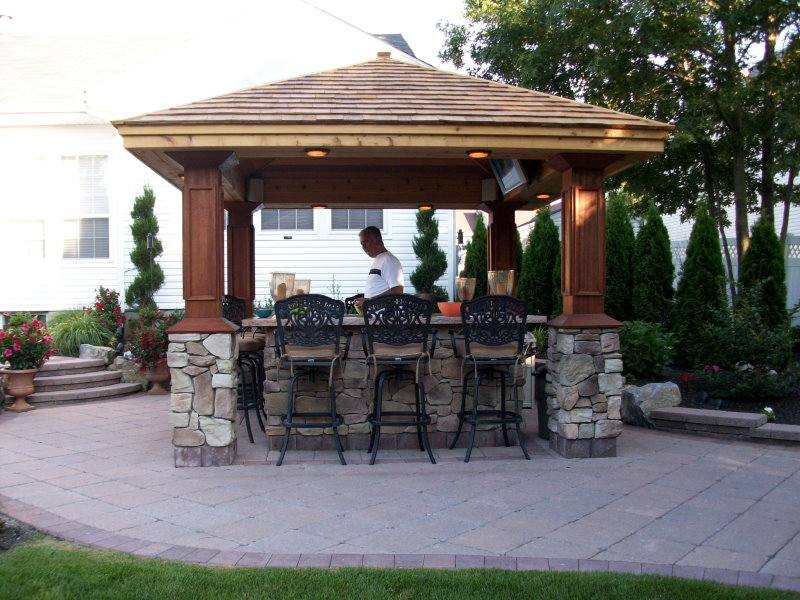 Outdoor kitchens bars installed peter anthony for Outdoor kitchen gazebo design