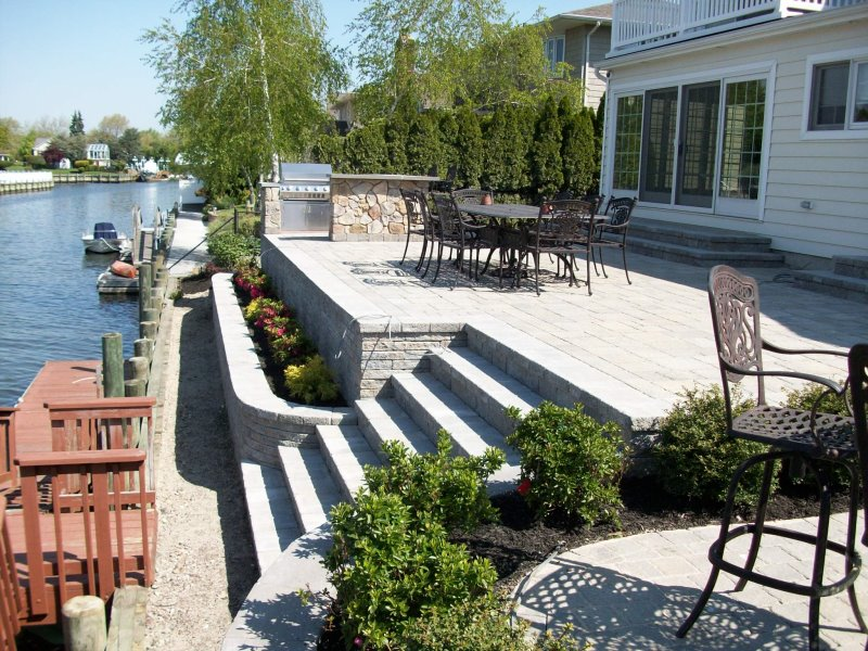 ^Techo Bloc Aberdeen Pavers Used For The Raised Patio Area^