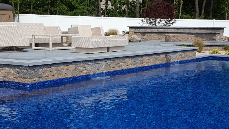 Pool Patio With Sheer Descent Waterfall